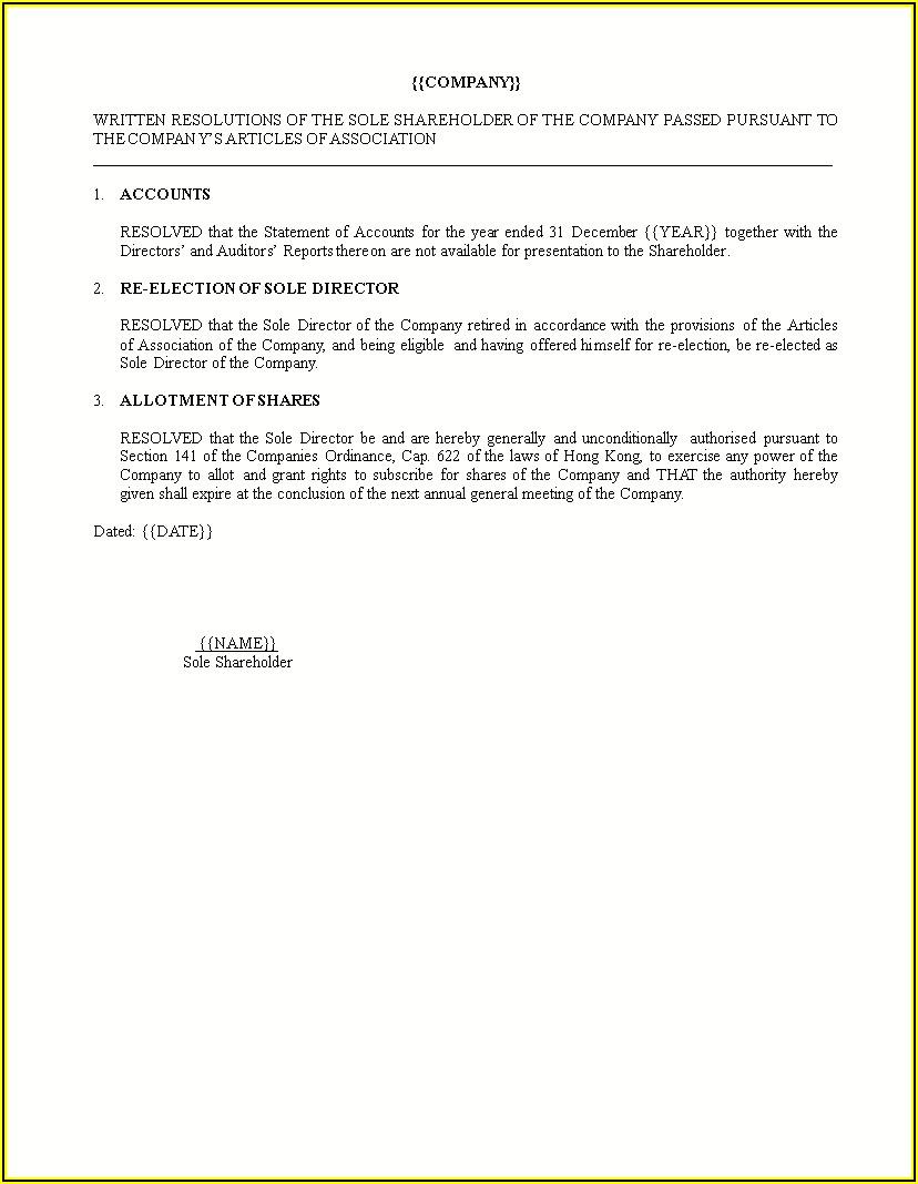 Shareholder Resolution Template Word