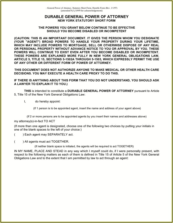 Short Form Durable Power Of Attorney