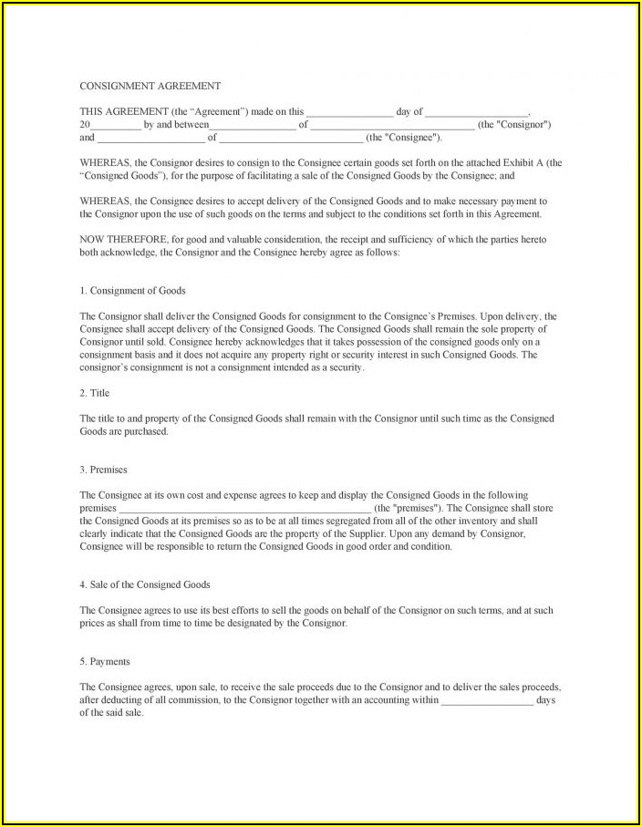 Simple Consignment Agreement Sample