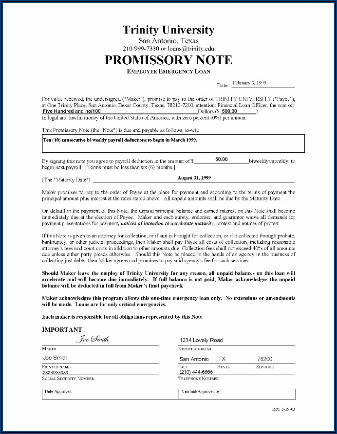 Simple Promissory Note Template Texas