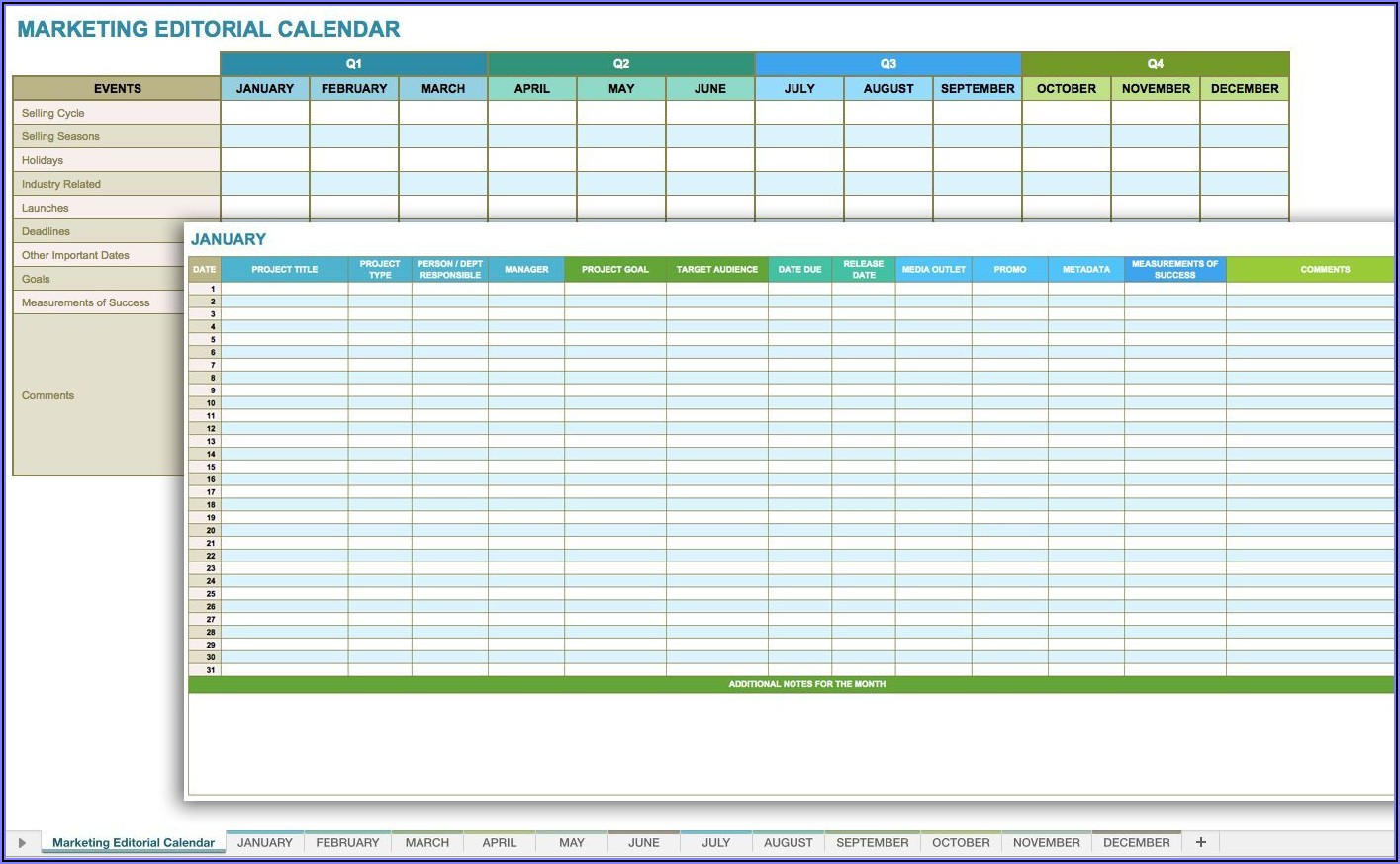 Social Media Timetable Template