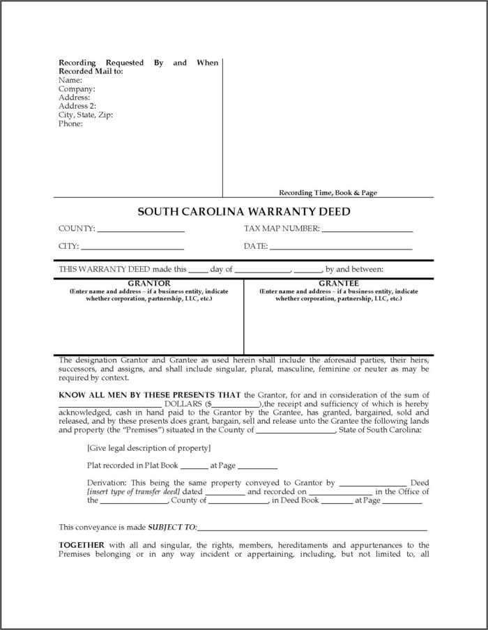 South Carolina Deed Of Trust Form