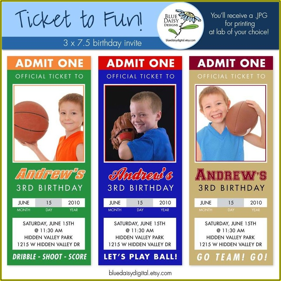 Sports Ticket Invitations Template Free