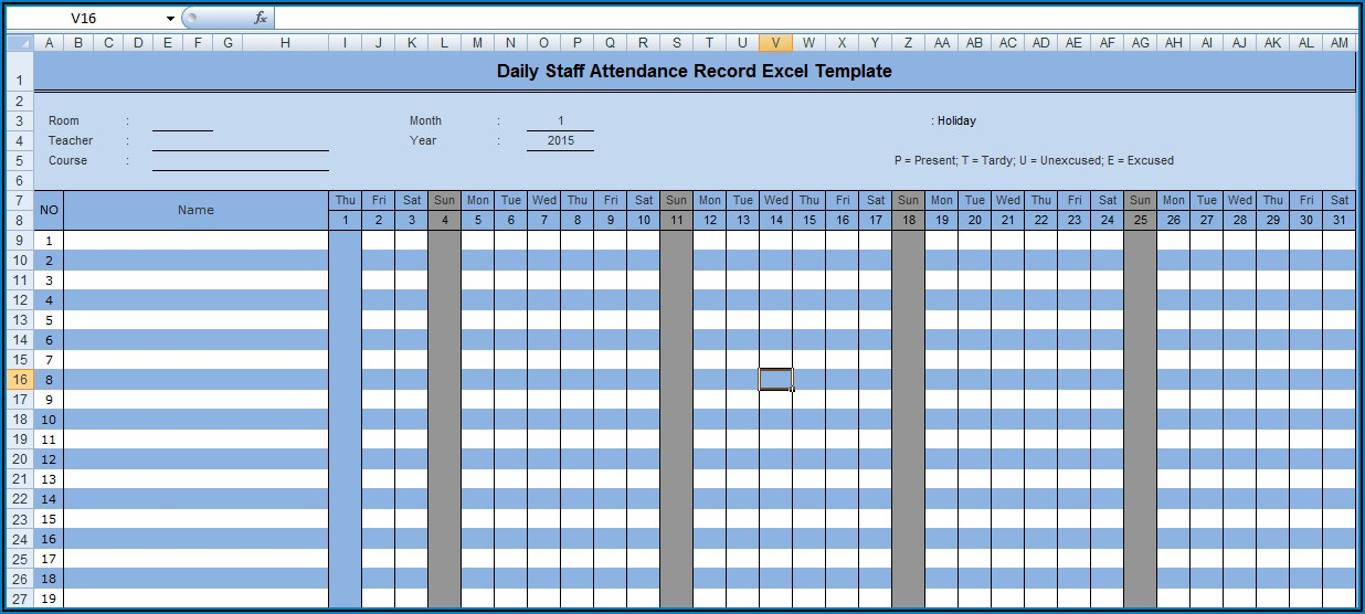 Staff Daily Attendance Sheet Template