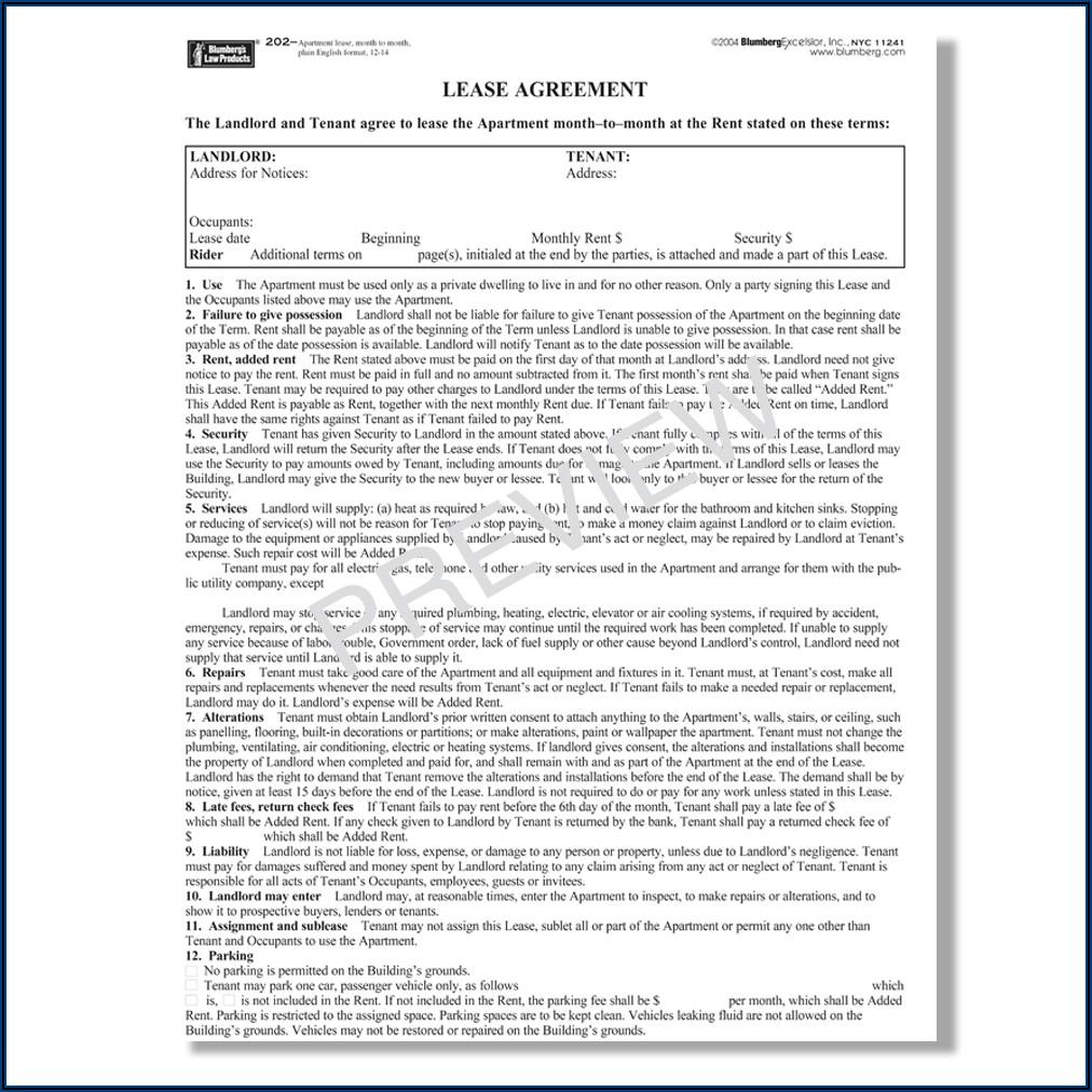 Standard Form Of Condominium Apartment Lease 2019