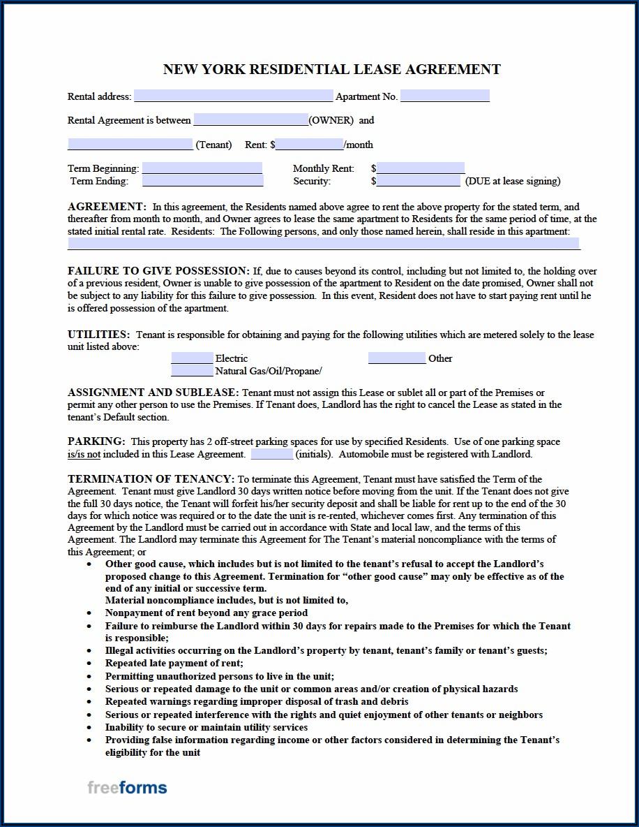 Standard Form Of Condominium Apartment Lease Nyc