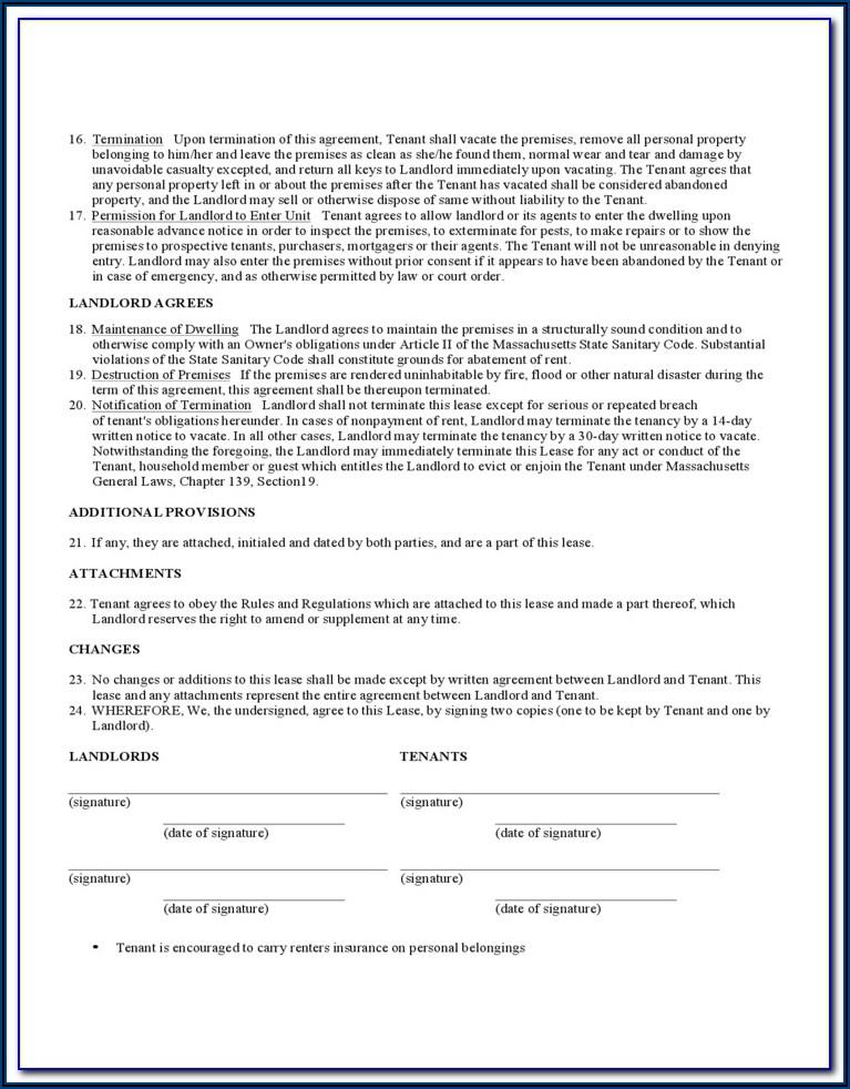 Standard Form Of Condominium Apartment Lease