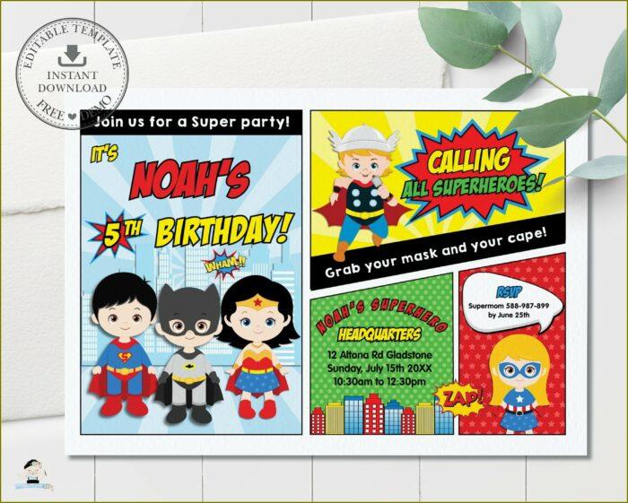 Superheroes Birthday Invitation Template