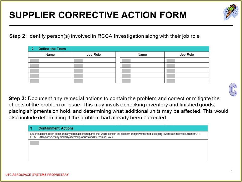Supplier Corrective Action Form