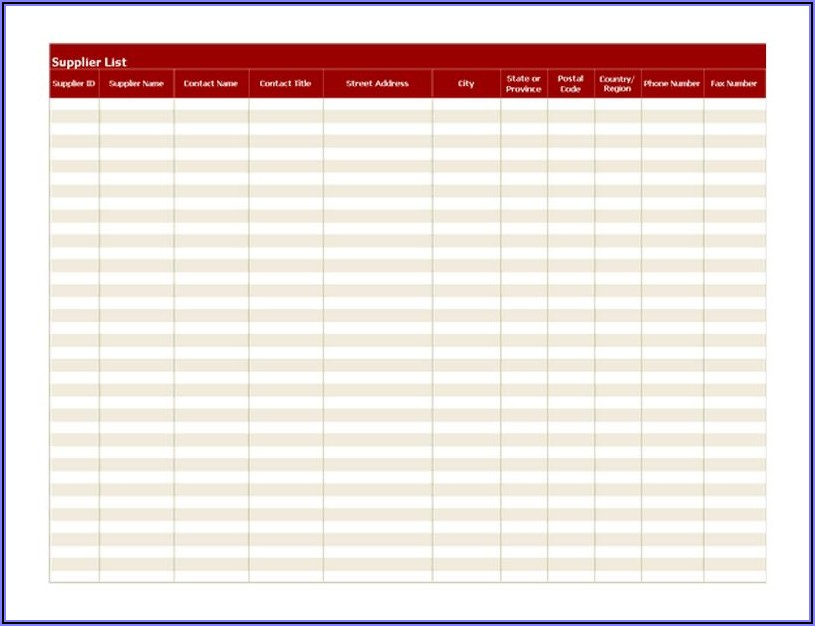 Suppliers List Template Excel