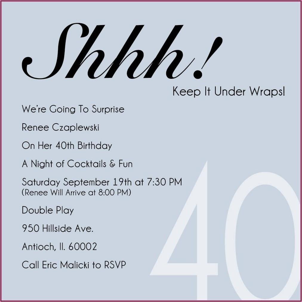 Surprise 40th Birthday Dinner Invitations