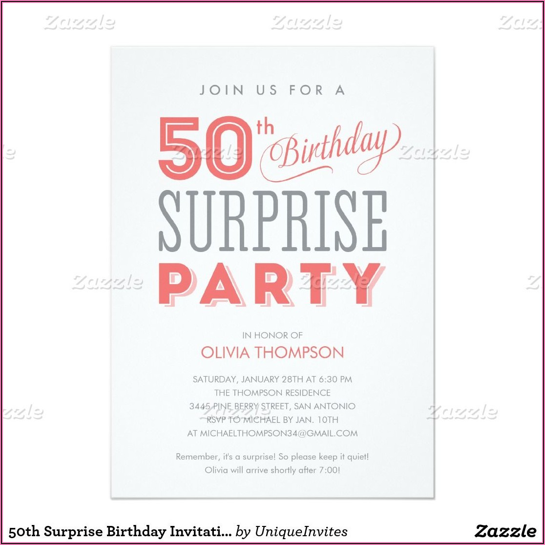 Surprise 50th Birthday Invitations Templates