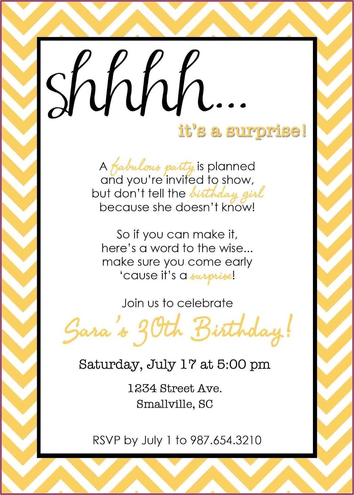 Surprise Birthday Party Invitations Wording