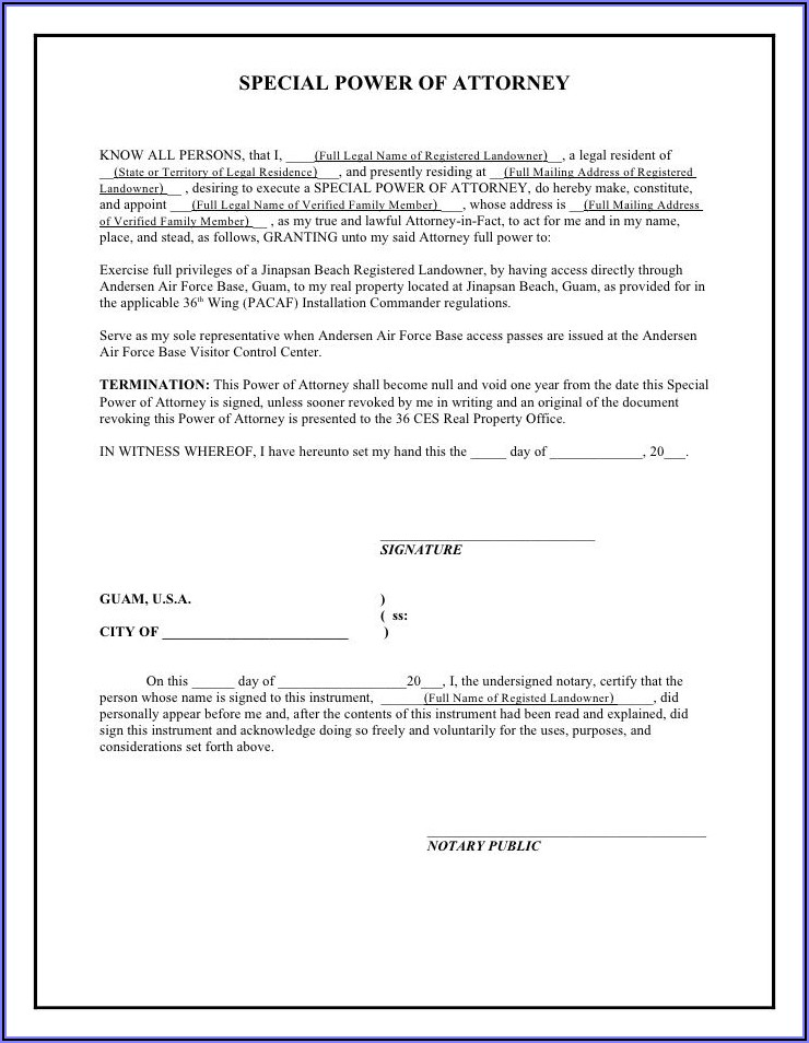 Template For Special Power Of Attorney