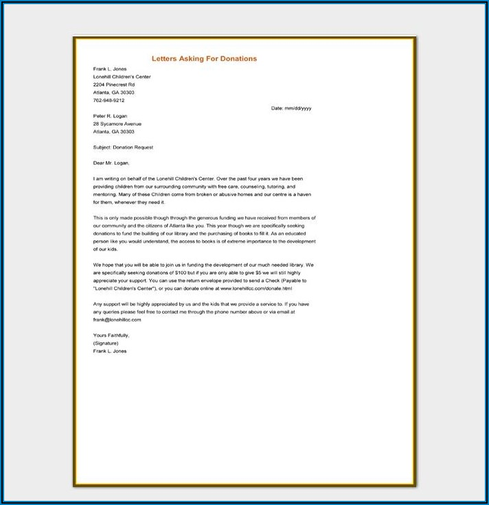 Template Letter Requesting Donations For Fundraiser