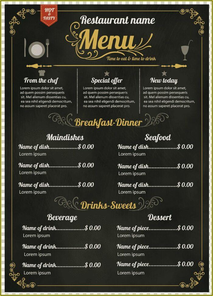 Template Menu Cafe Png