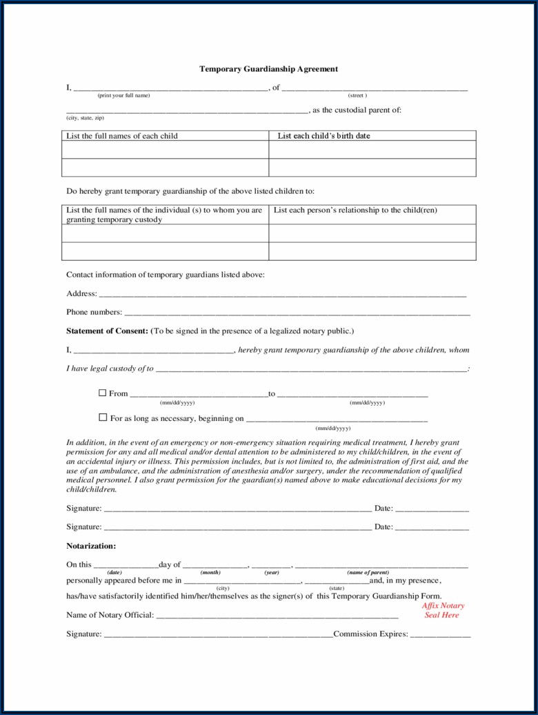 Temporary Custody Agreement Ohio