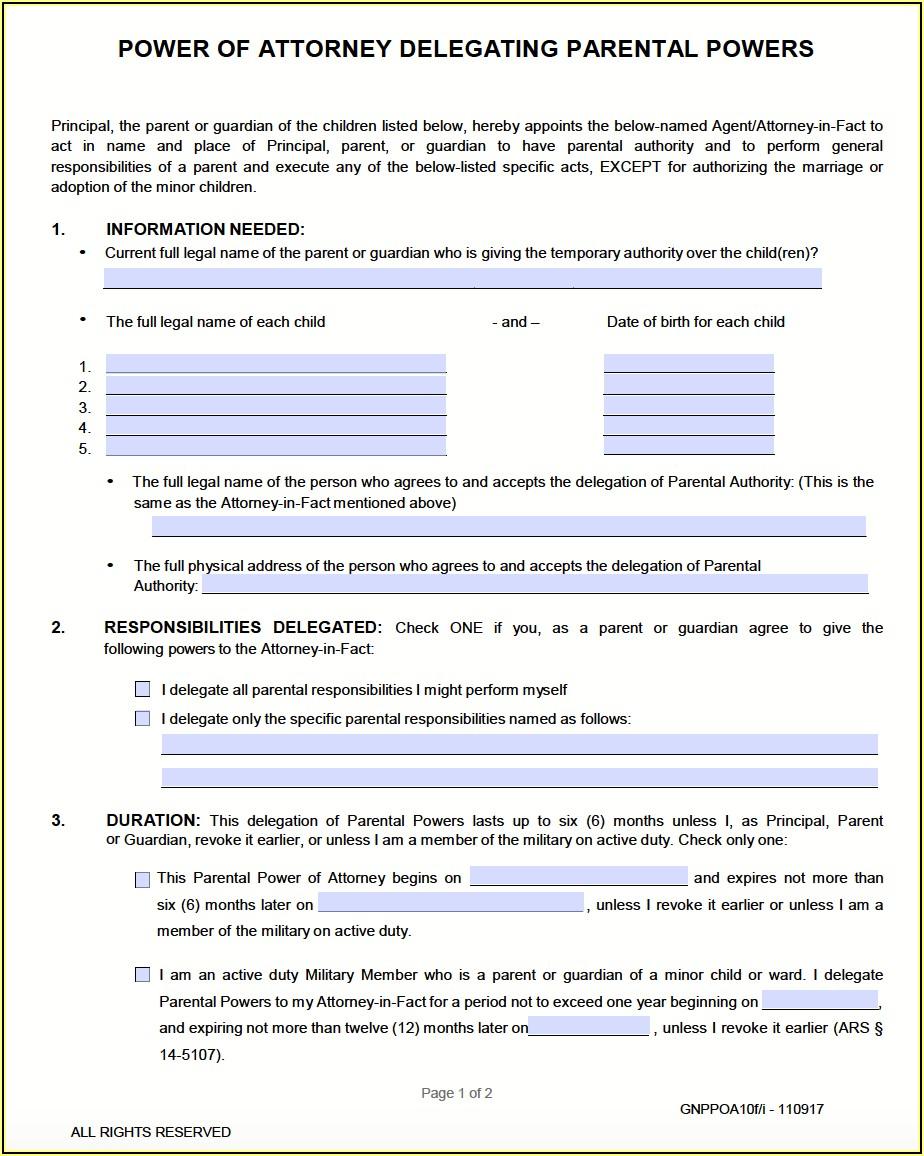 Temporary Custody Forms Az