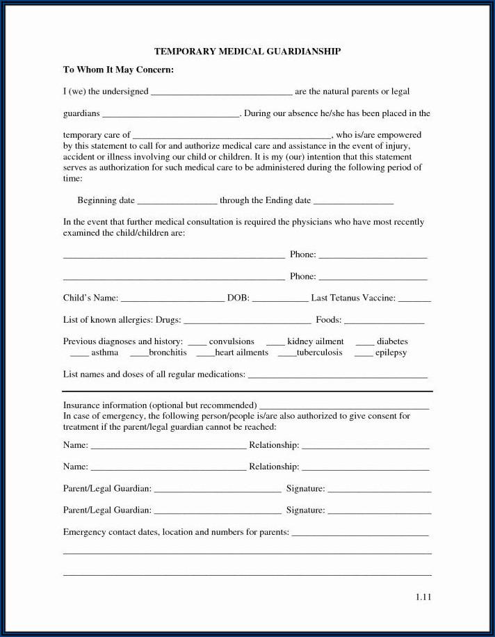 Temporary Custody Of A Child Form