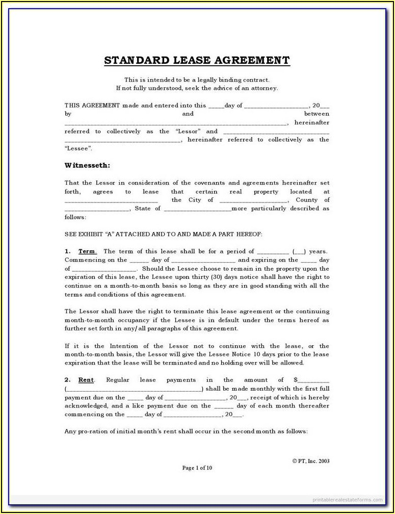 Tenant Lease Agreement Form