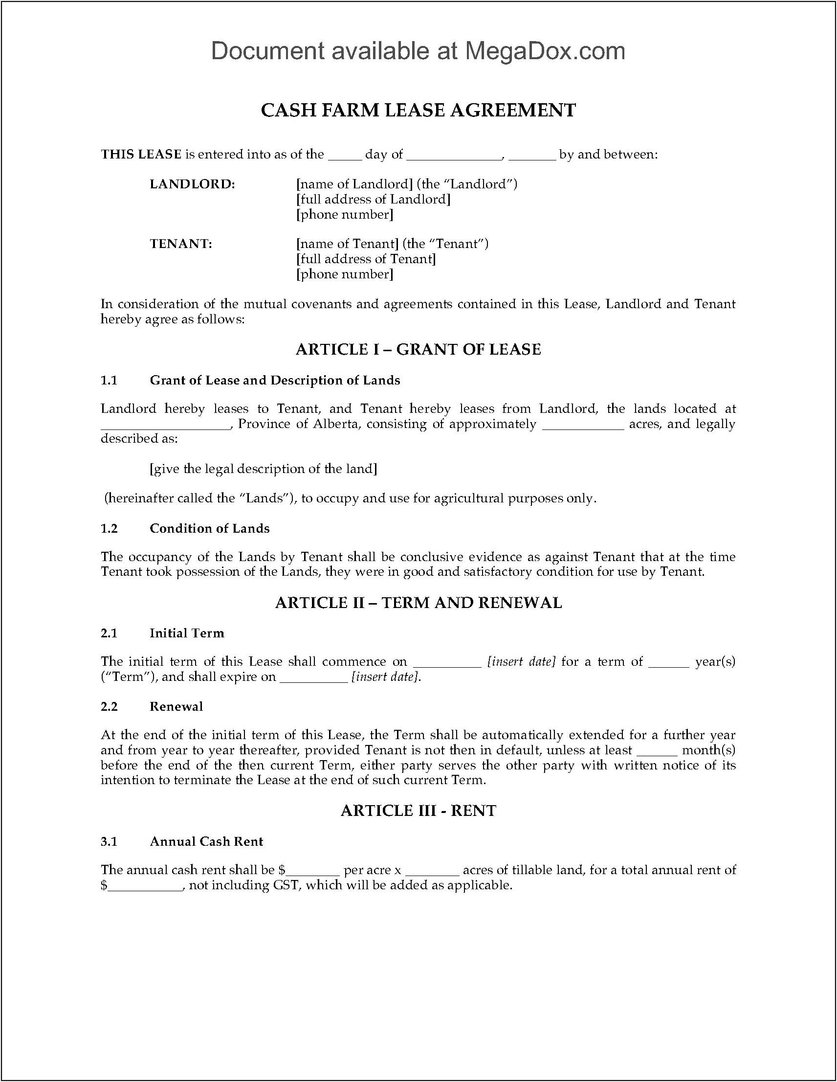 Tenant Rental Agreement Form Alberta