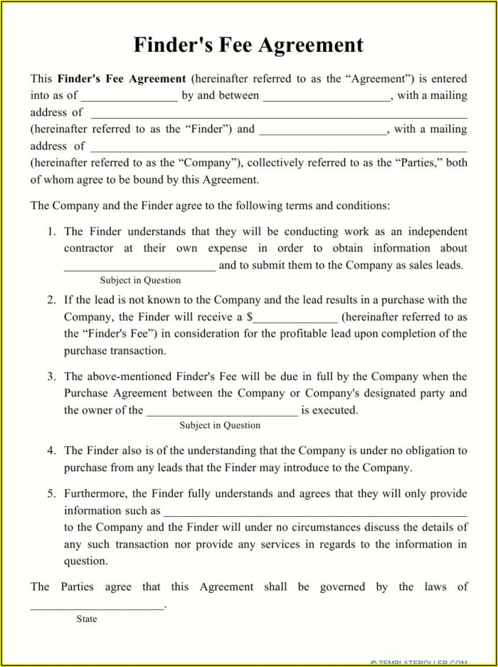 Venture Capital Finder's Fee Agreement Template