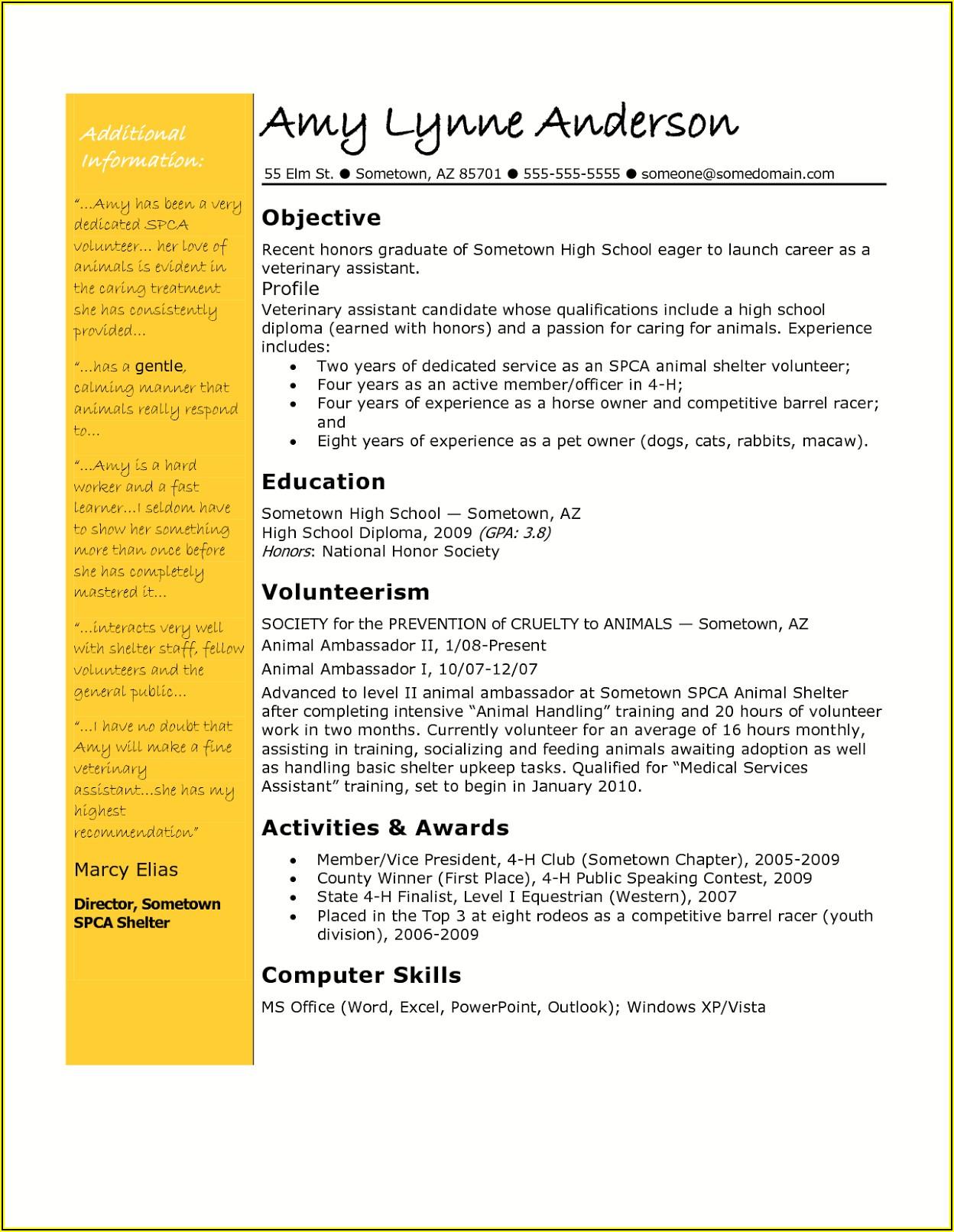 Veterinary Technician Resume Examples