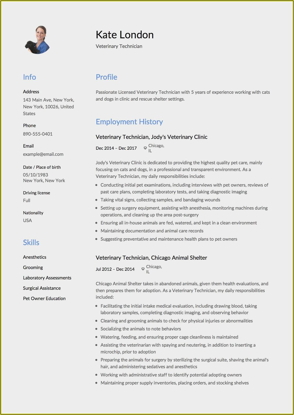 Veterinary Technician Resume Sample