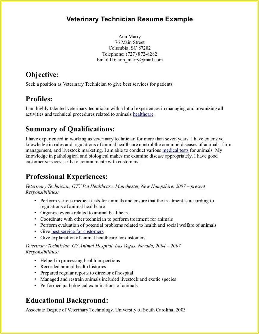 Veterinary Technician Resume Template