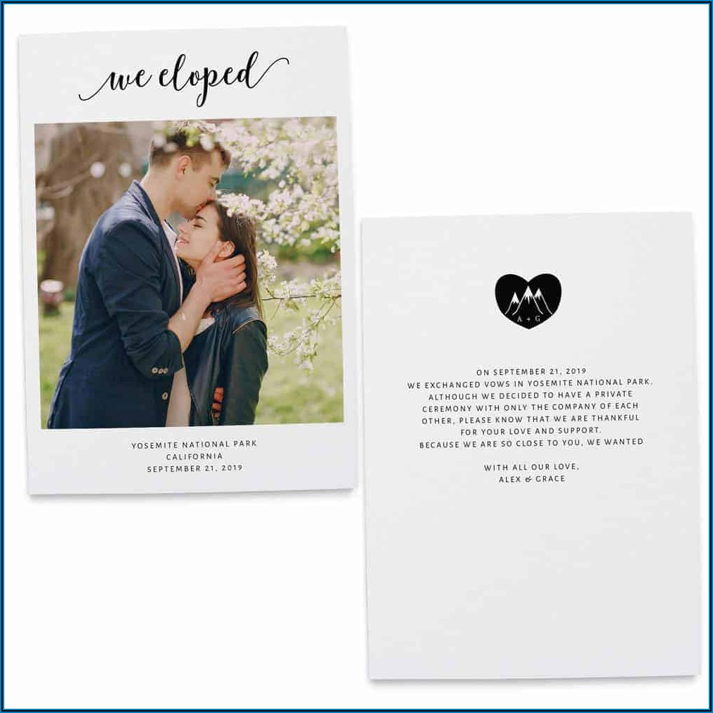 We Eloped Announcement Cards