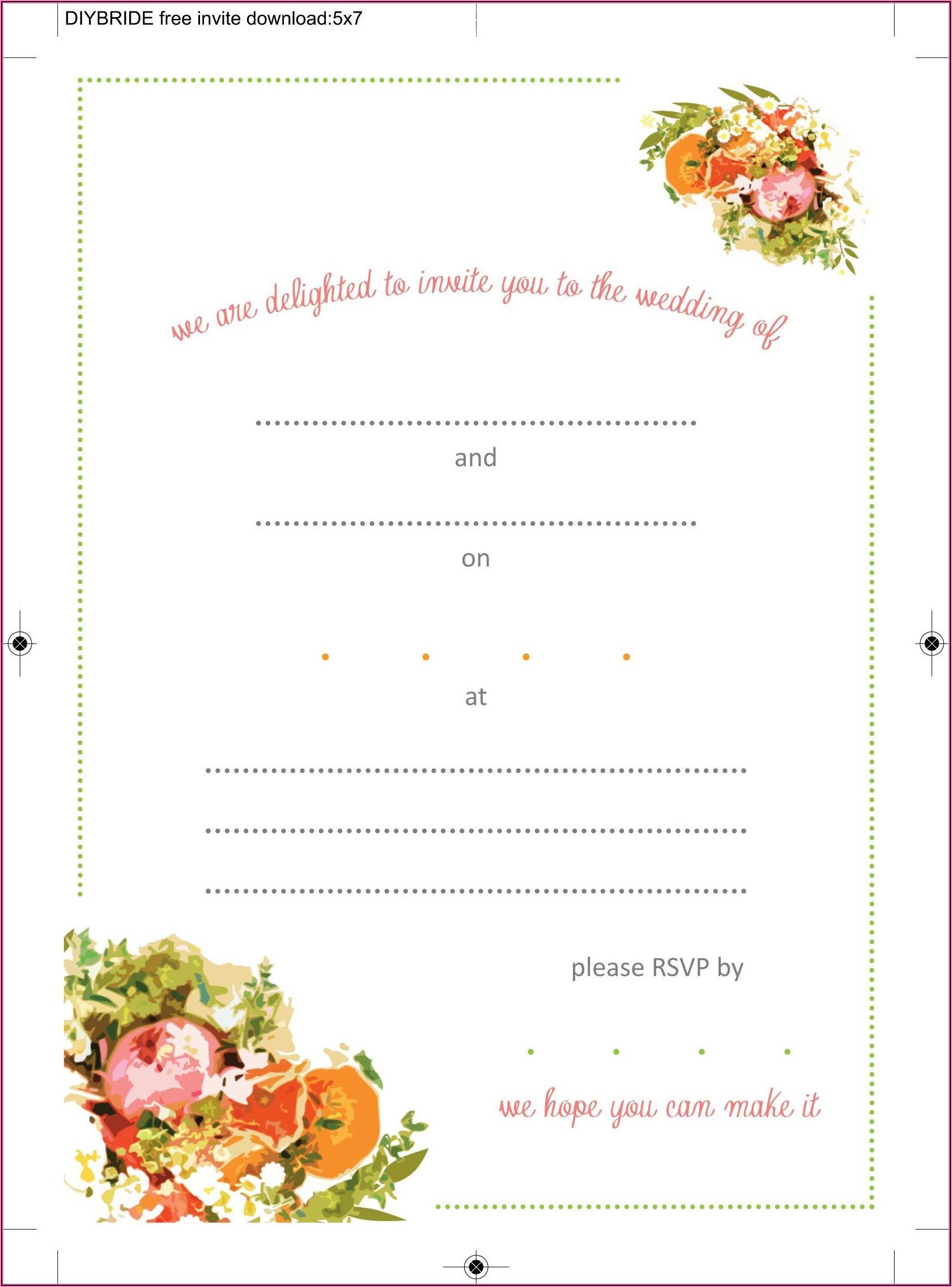Wedding Invitation Blank Templates Free Download