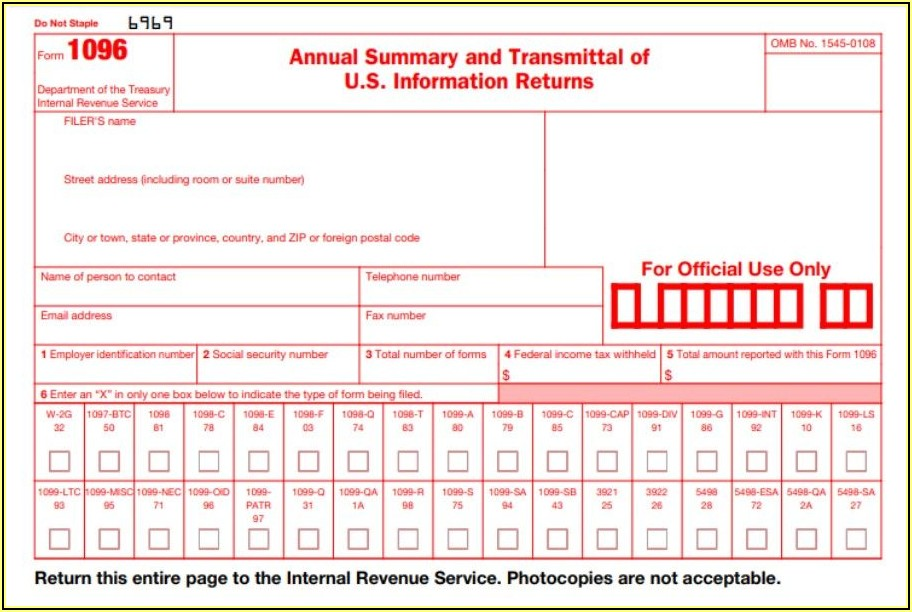Where To Mail Form 1099 And 1096