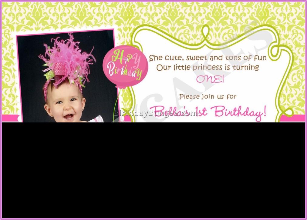 1st Birthday Invitations Girl Wording