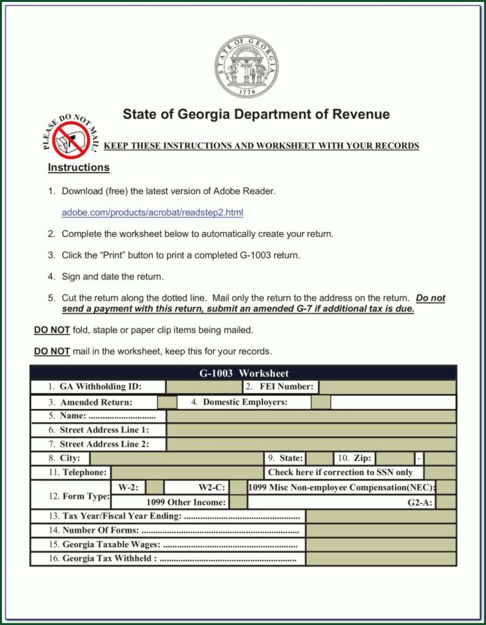 2014 Georgia State Tax Forms