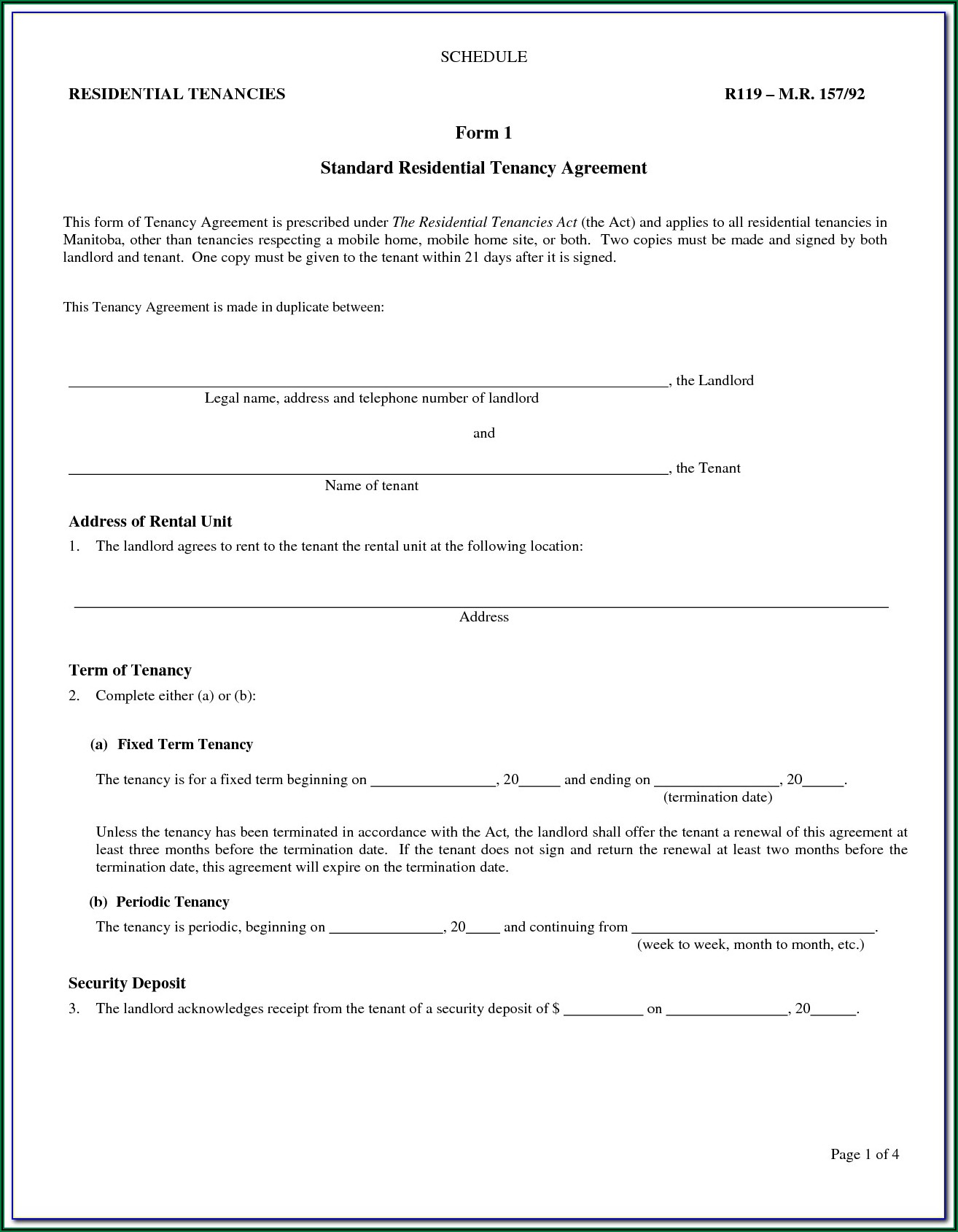 Alberta Landlord Rental Agreement Form