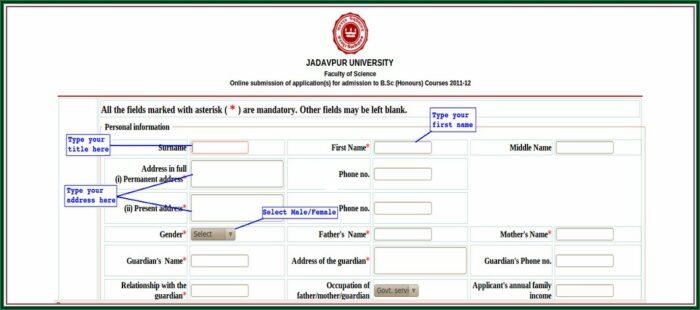Application Form For Admission In Jadavpur University