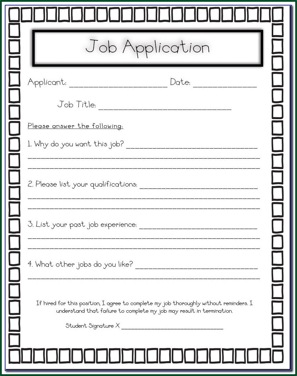 Application Form For Admission In School