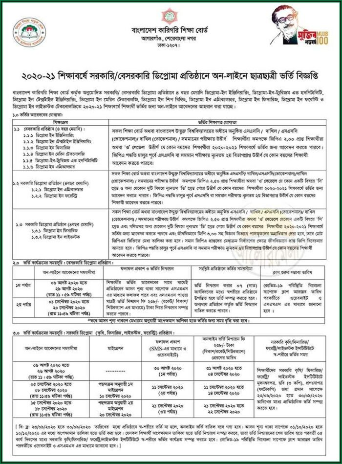 Application Form For Admission To Government Polytechnic College 2021