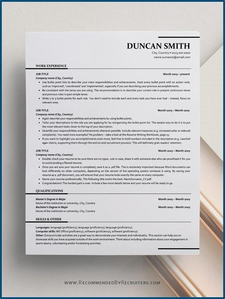 Ats Format Resume Template Free Download