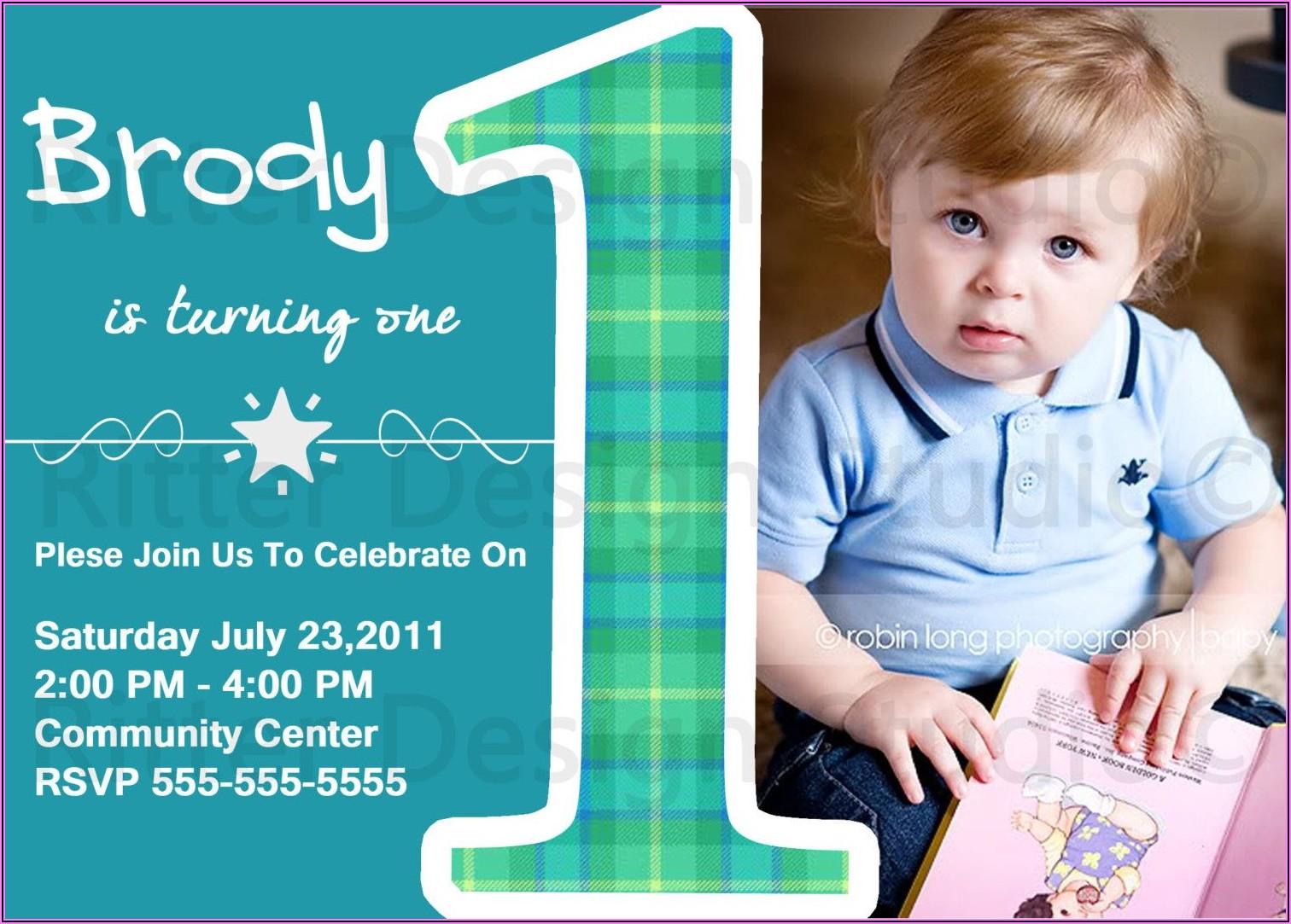 Baby Boy 1st Birthday Party Invitations