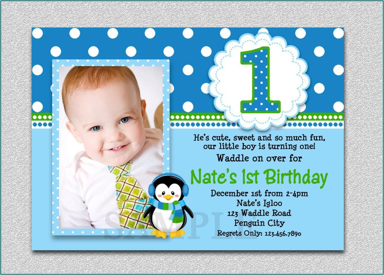 Baby Boy Birthday And Baptism Invitation