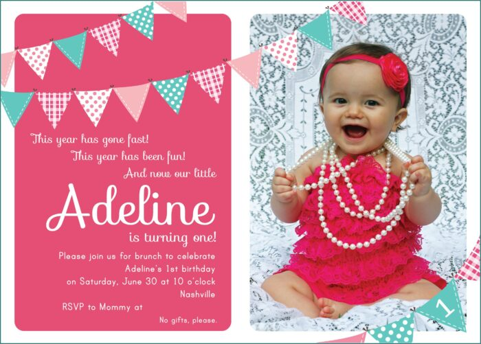 Baby Girl 1st Birthday Invitation Quotes
