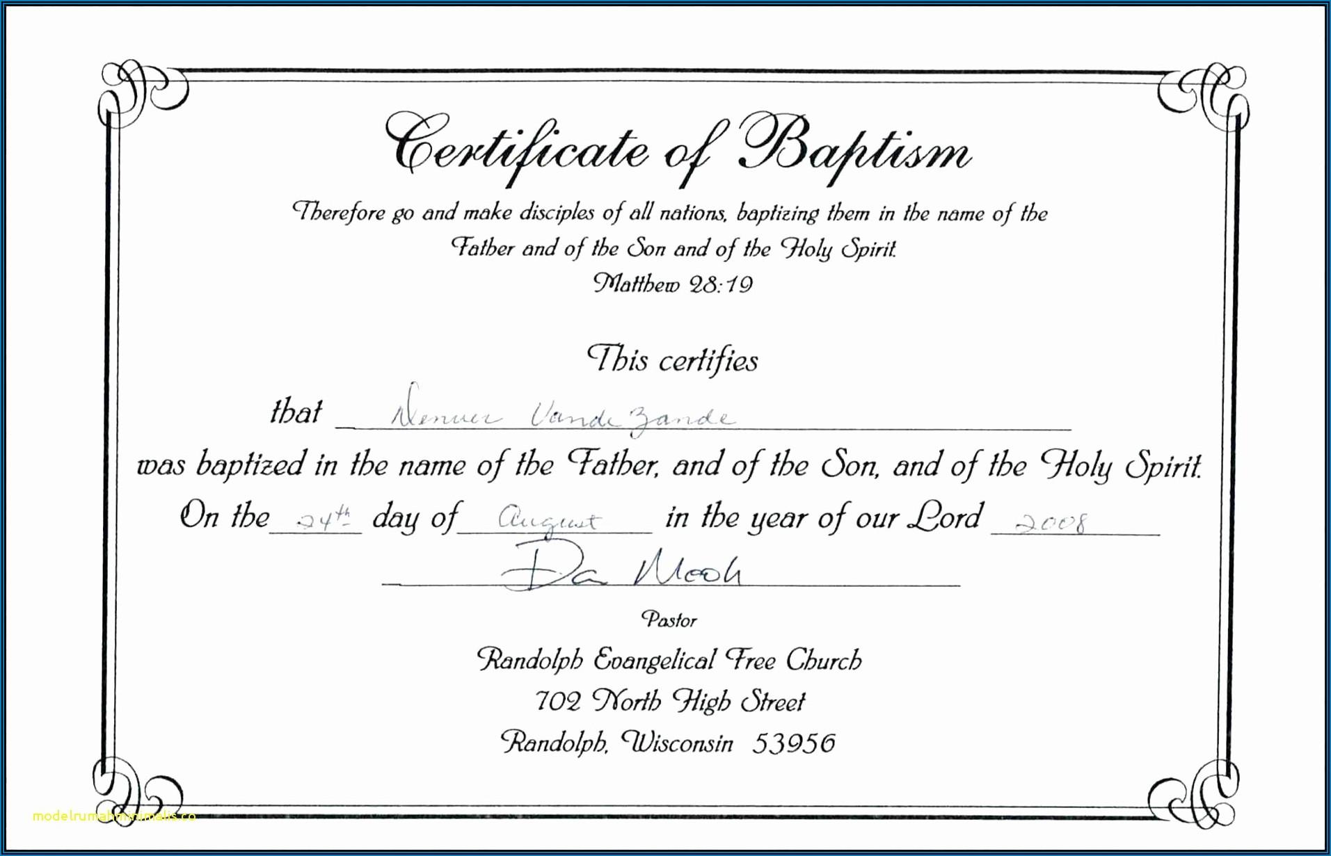 Baptism Certificate Printable Free