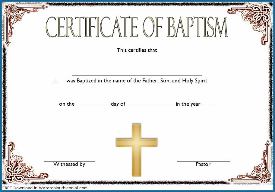 Baptism Certificate Template Fillable