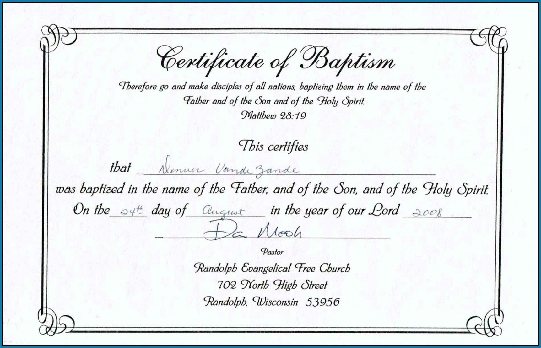 Baptism Certificate Templates
