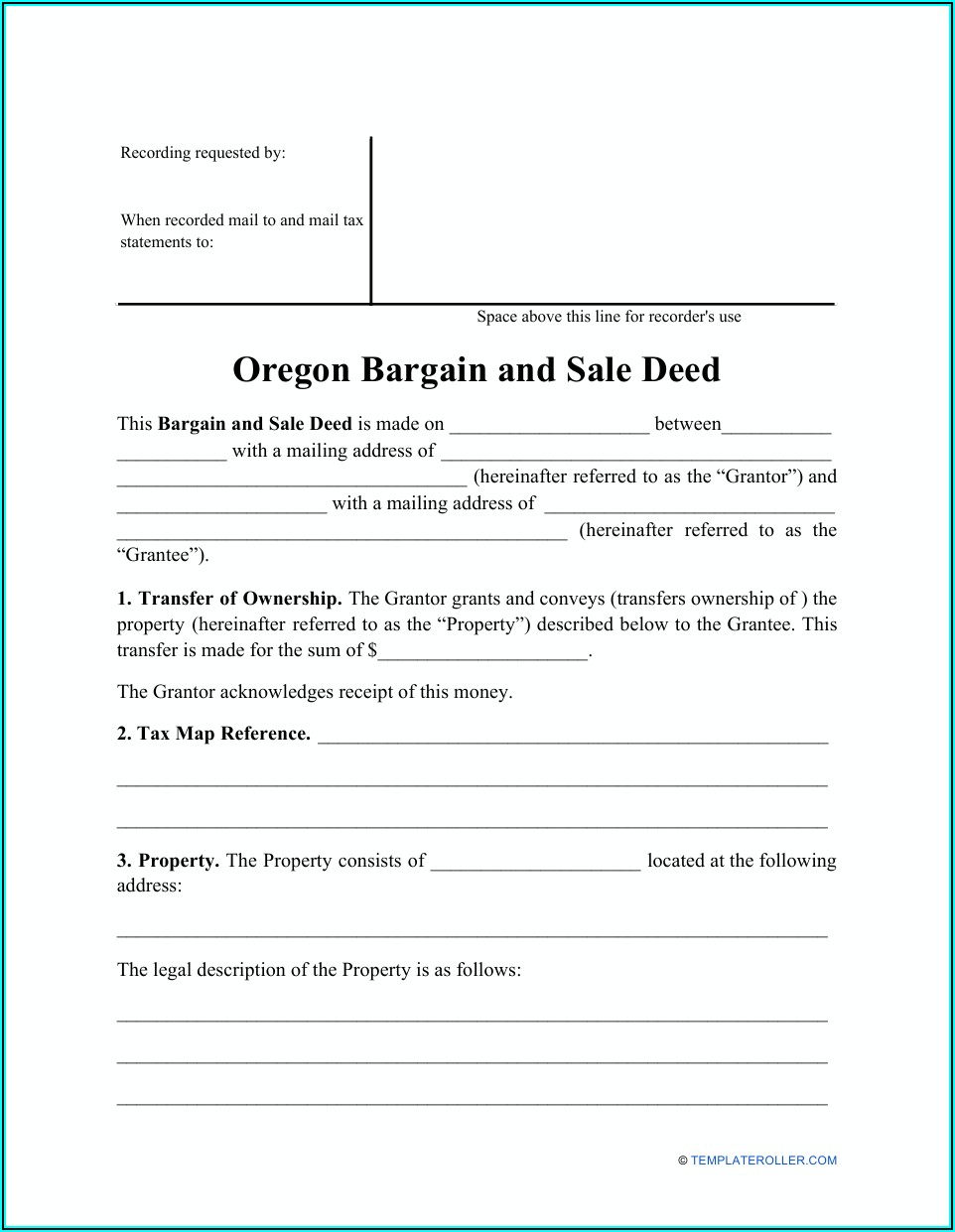 Bargain And Sale Deed Form Oregon