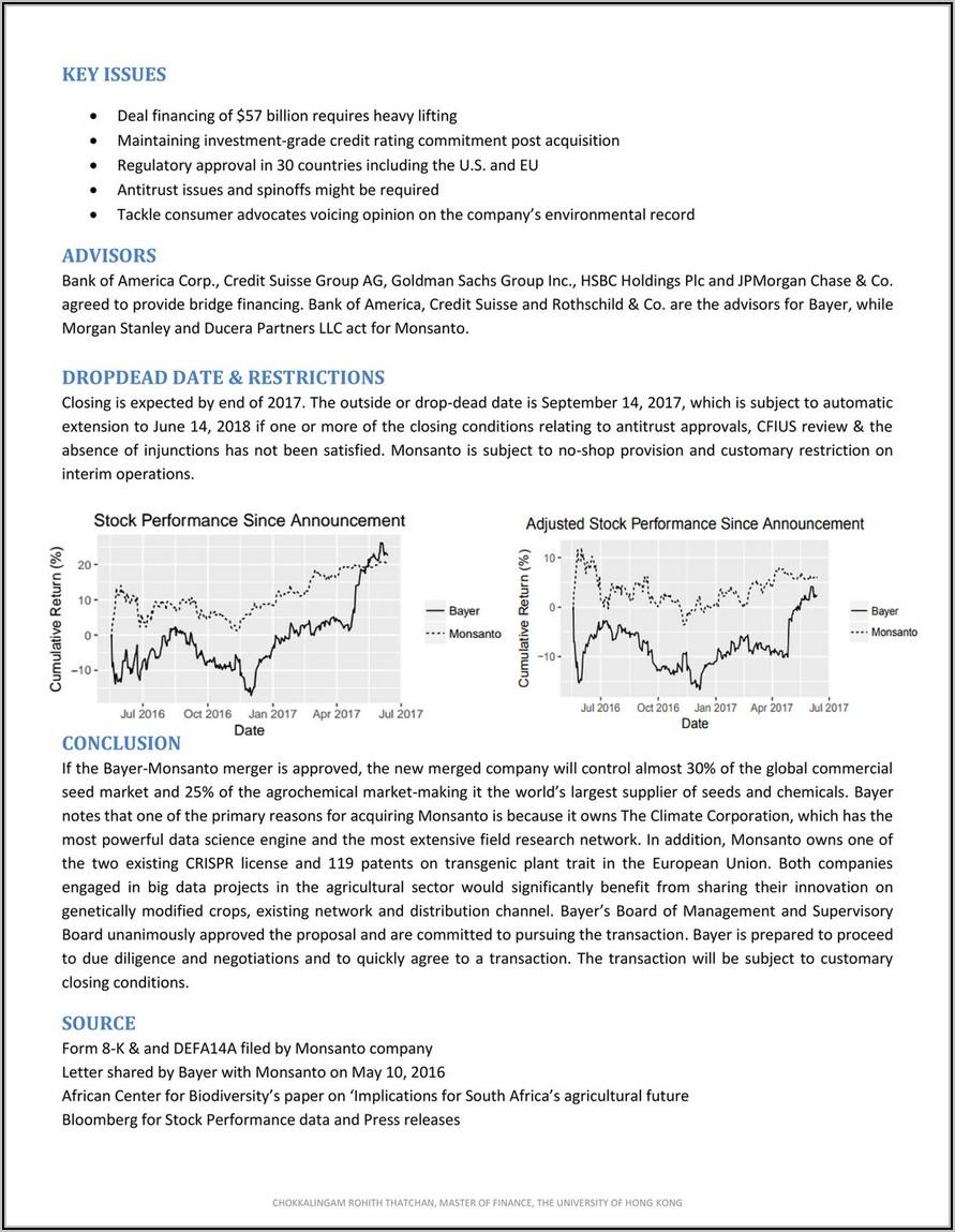 Bayer Monsanto Merger Press Release