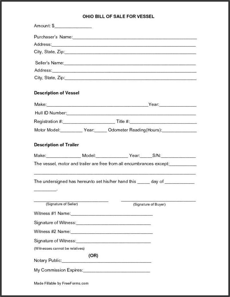 Bill Of Sale Form For A Boat And Trailer