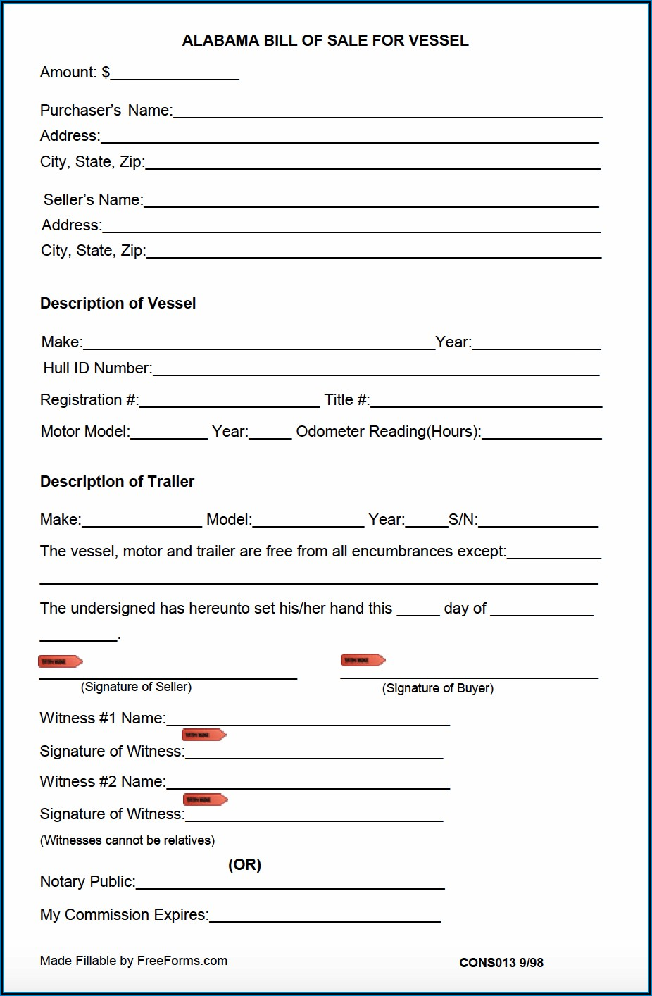 Bill Of Sale Template For A Boat