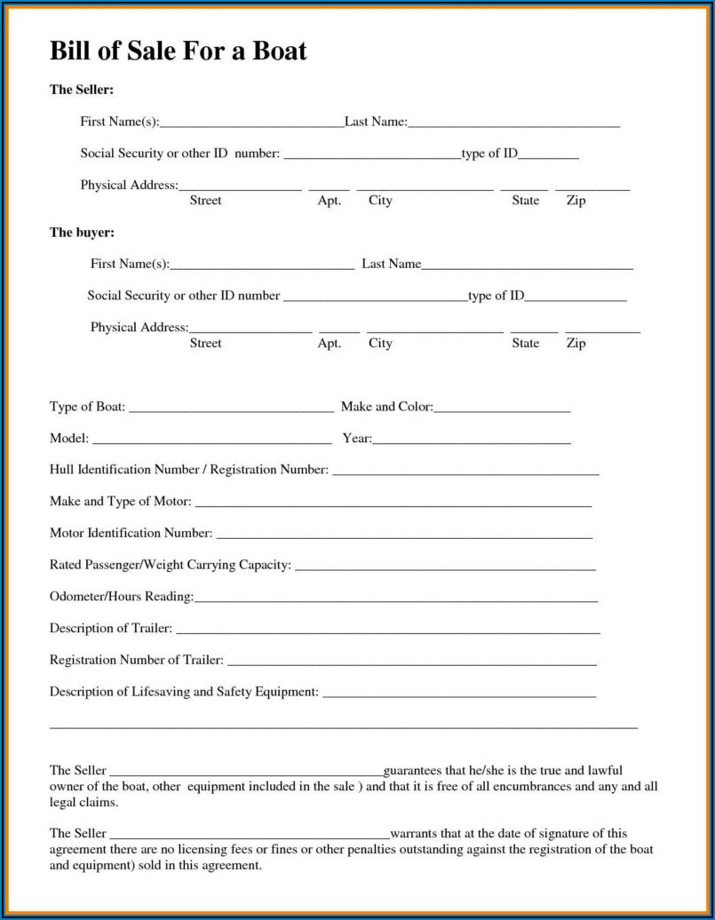 Bill Of Sale Template For Boat Motor